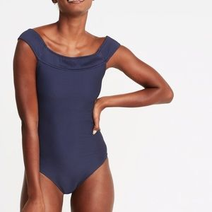 Textured Off-the-Shoulder Swimsuit